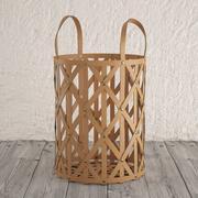 编织皮革圆筒篮 3d model