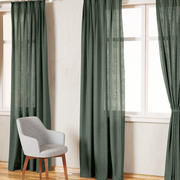 Country Solid Green Linen Curtains 3d model