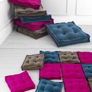 Aksamitne poduszki podłogowe 3d model