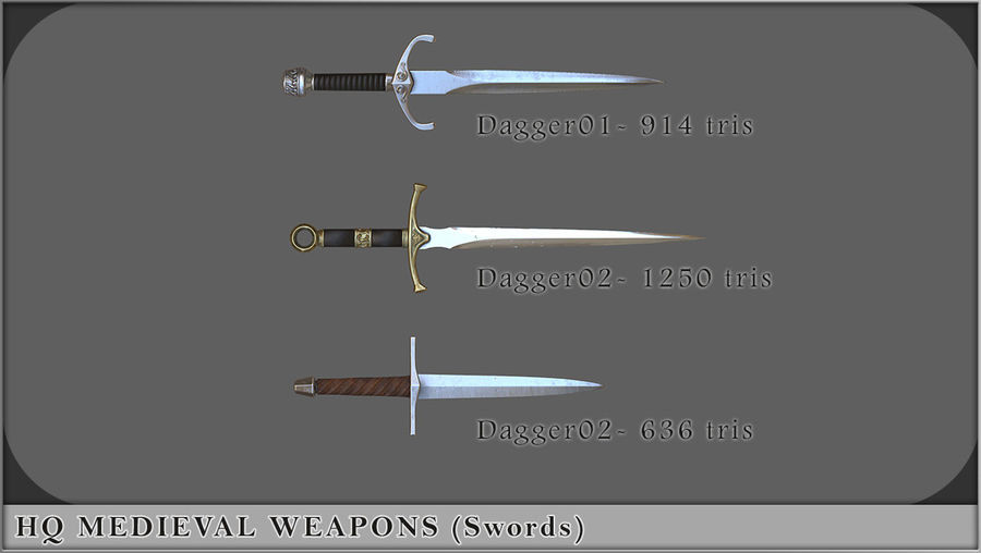 HQ Medieval Weapons (Swords) royalty-free 3d model - Preview no. 4