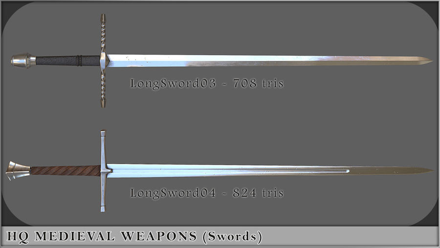 HQ Medieval Weapons (Swords) royalty-free 3d model - Preview no. 3