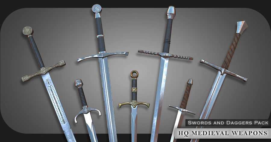 HQ Medieval Weapons (Swords) royalty-free 3d model - Preview no. 1