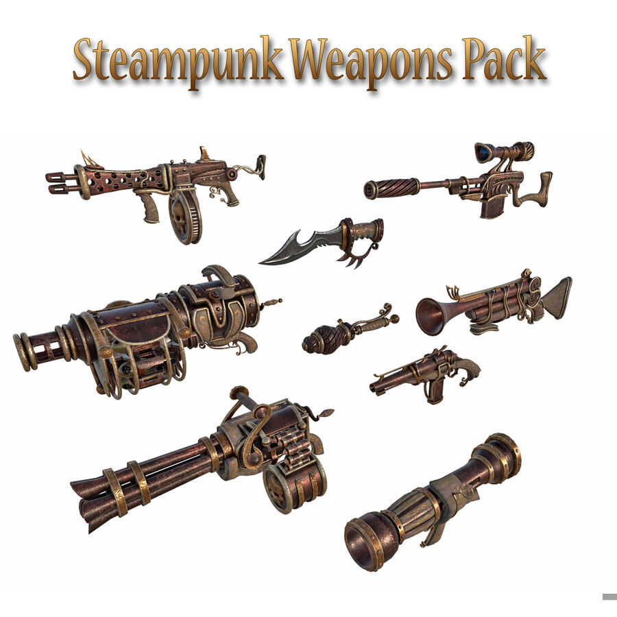Pack d'armes Steampunk royalty-free 3d model - Preview no. 1