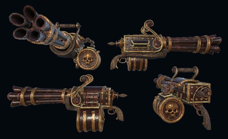 Pack d'armes Steampunk royalty-free 3d model - Preview no. 3