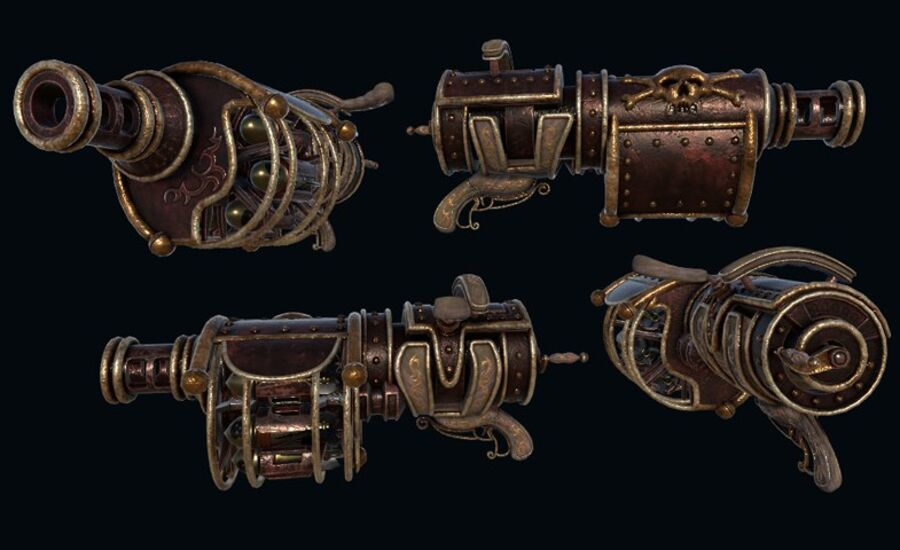 Pack d'armes Steampunk royalty-free 3d model - Preview no. 7