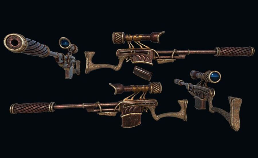 Pack d'armes Steampunk royalty-free 3d model - Preview no. 9