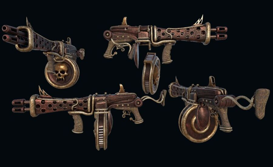 Pack d'armes Steampunk royalty-free 3d model - Preview no. 10