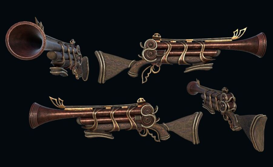 Pack d'armes Steampunk royalty-free 3d model - Preview no. 8