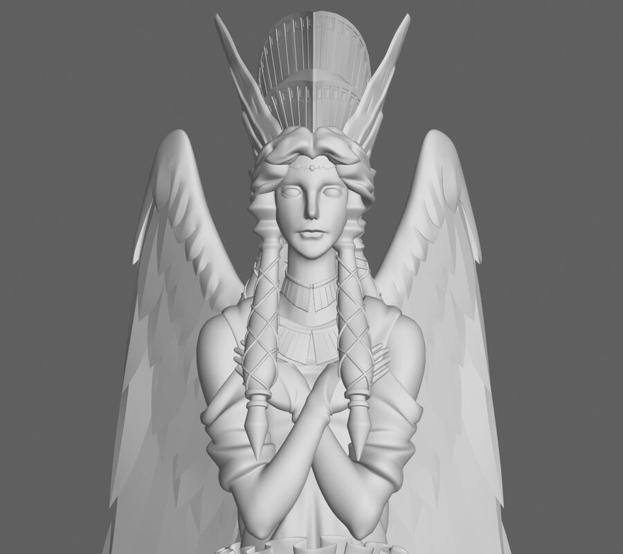 Statua anioła royalty-free 3d model - Preview no. 6