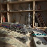 기차 기관차 및 현장 3d model