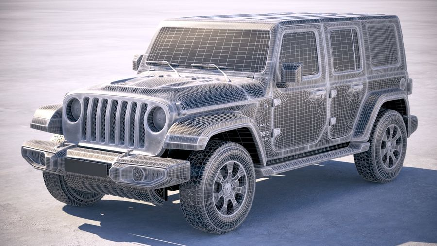 Джип Рэнглер Неограниченная Сахара 2018 royalty-free 3d model - Preview no. 22