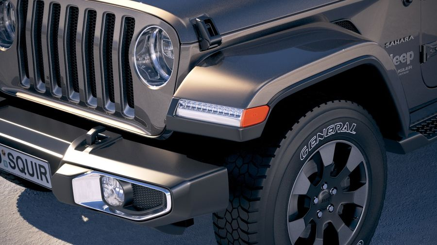 Jeep Wrangler Unlimited Sahara 2018 royalty-free 3d model - Preview no. 3