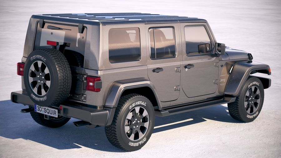 Jeep Wrangler Unlimited Sahara 2018 royalty-free 3d model - Preview no. 5