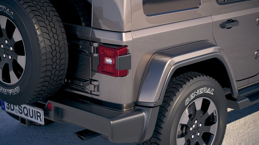 Jeep Wrangler Unlimited Sahara 2018 royalty-free 3d model - Preview no. 4