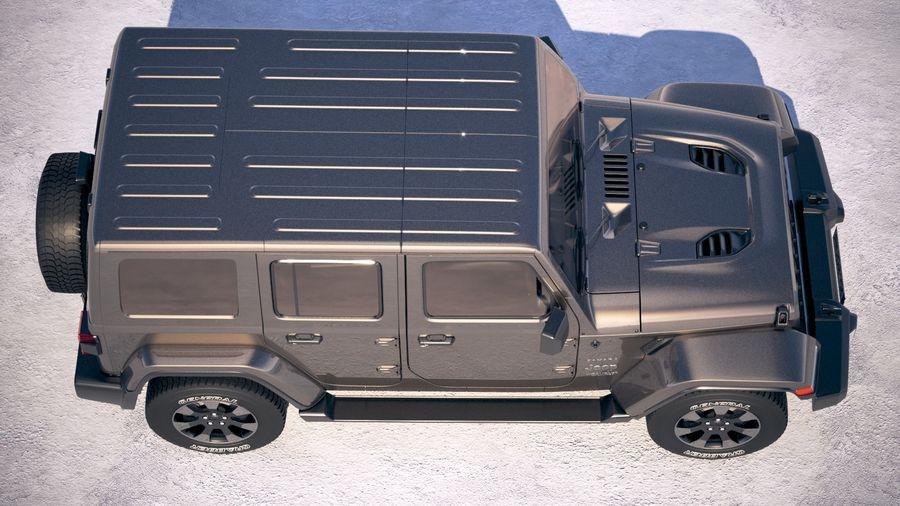 Джип Рэнглер Неограниченная Сахара 2018 royalty-free 3d model - Preview no. 8