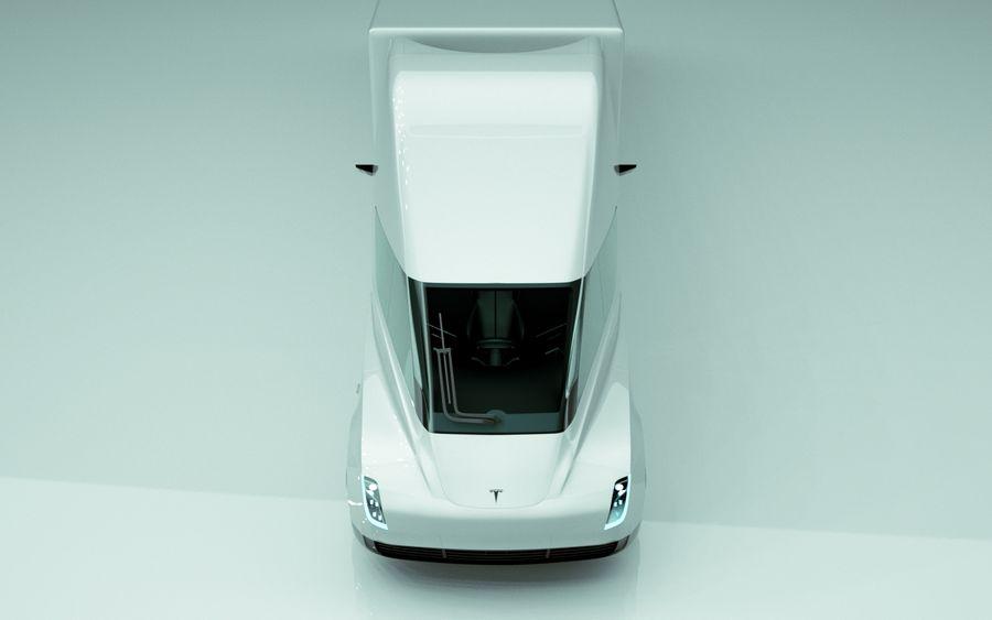 Tesla Semi Truck royalty-free 3d model - Preview no. 3