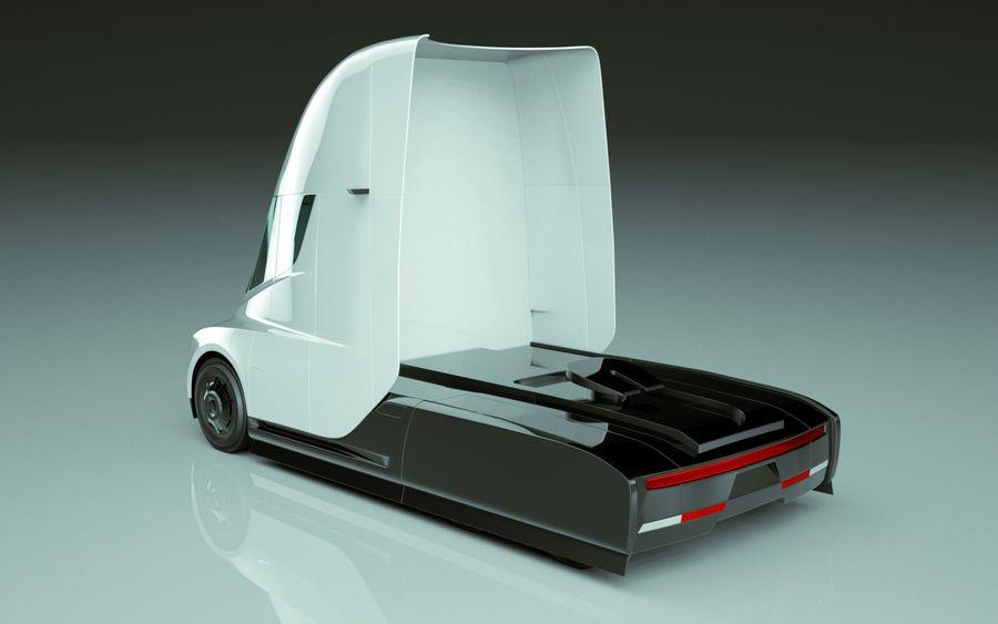 Tesla Semi Truck royalty-free 3d model - Preview no. 7