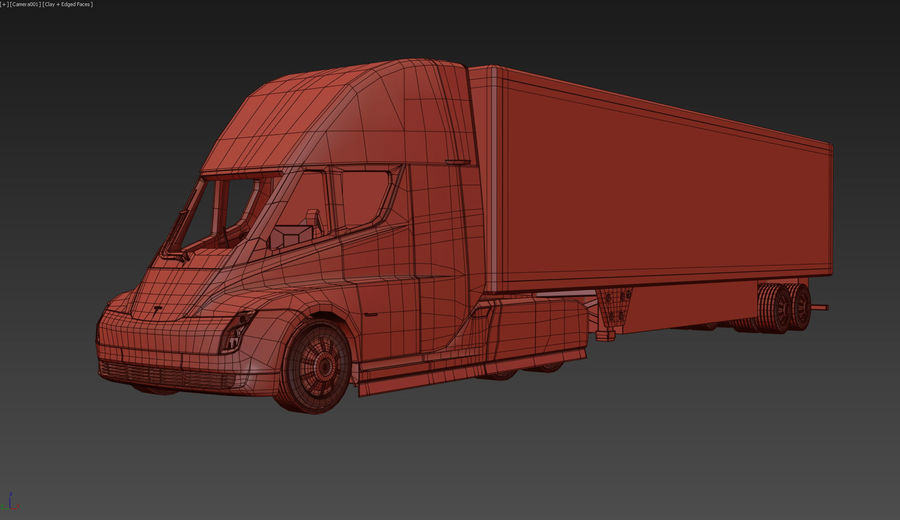 Tesla Semi Truck royalty-free 3d model - Preview no. 9