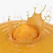 Orange with Juice Splash 3d model