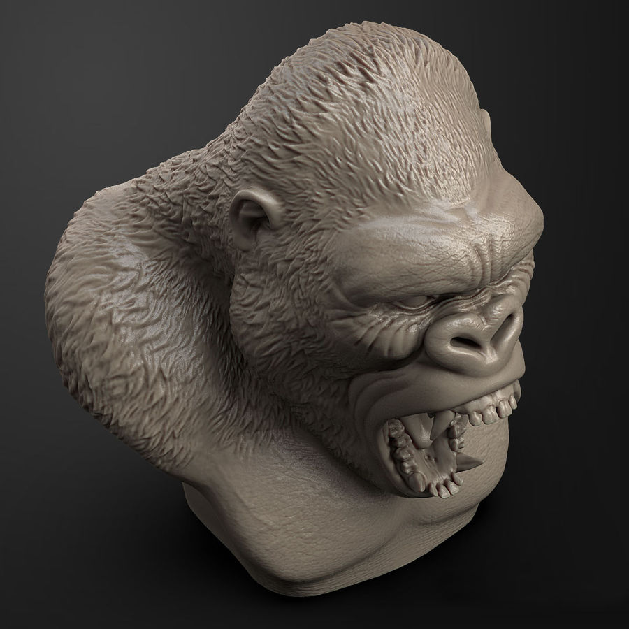 testa di gorilla arrabbiata royalty-free 3d model - Preview no. 5