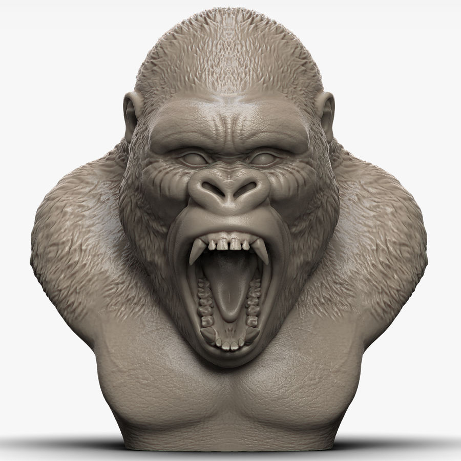 testa di gorilla arrabbiata royalty-free 3d model - Preview no. 1