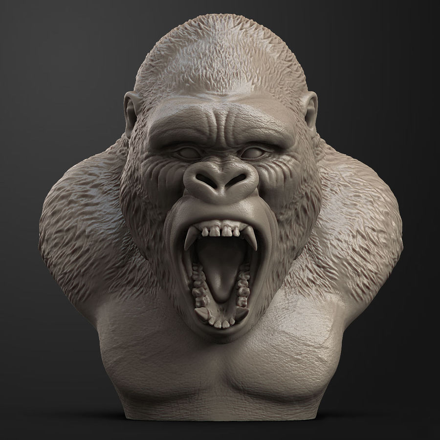 testa di gorilla arrabbiata royalty-free 3d model - Preview no. 2