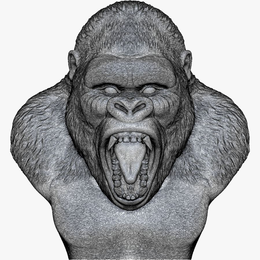 testa di gorilla arrabbiata royalty-free 3d model - Preview no. 11