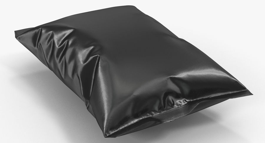 Black Bag Template for Snacks royalty-free 3d model - Preview no. 6