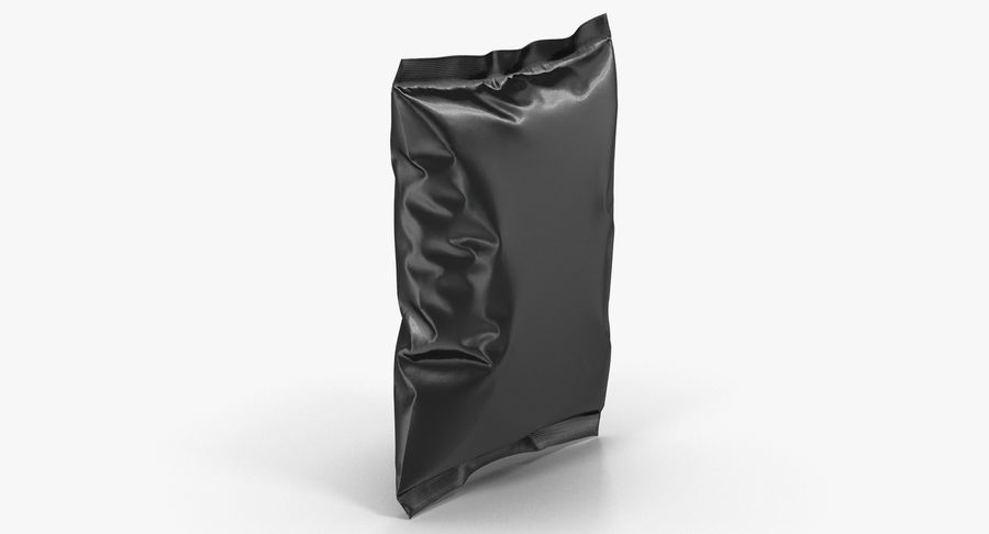Black Bag Template for Snacks royalty-free 3d model - Preview no. 3