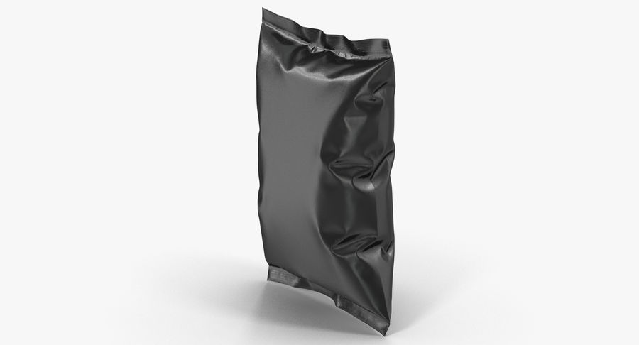 Black Bag Template for Snacks royalty-free 3d model - Preview no. 4