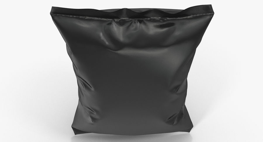 Black Bag Template for Snacks royalty-free 3d model - Preview no. 7