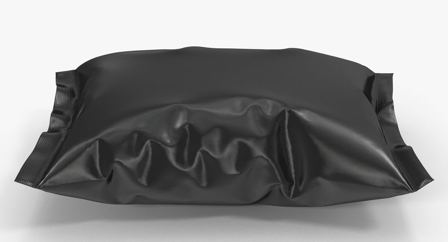 Black Bag Template for Snacks royalty-free 3d model - Preview no. 5