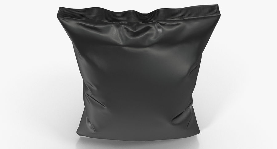 Black Bag Template for Snacks royalty-free 3d model - Preview no. 8