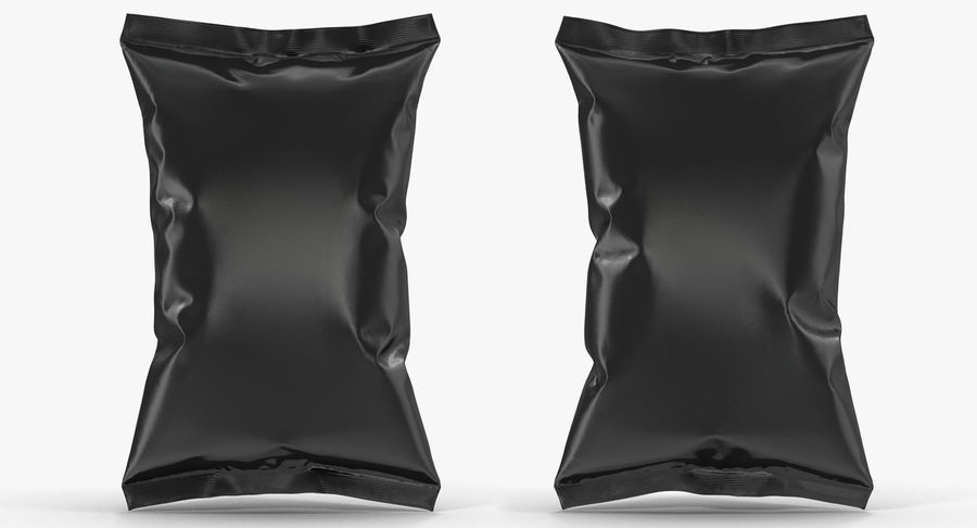 Black Bag Template for Snacks royalty-free 3d model - Preview no. 9