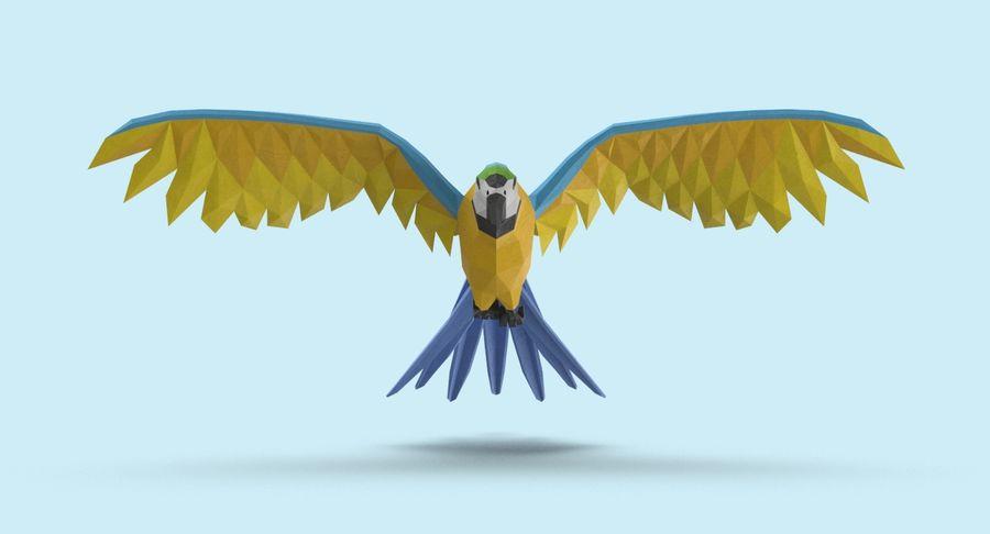 Papağan Mavi Uçan royalty-free 3d model - Preview no. 8