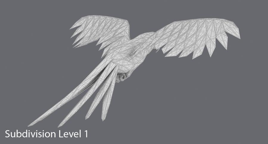 Papağan Mavi Uçan royalty-free 3d model - Preview no. 17
