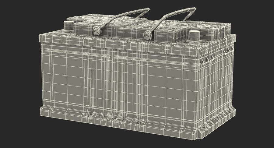 Bateria do carro 12v royalty-free 3d model - Preview no. 19