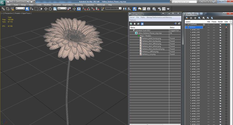 Flor de gerbera amarilla royalty-free modelo 3d - Preview no. 11