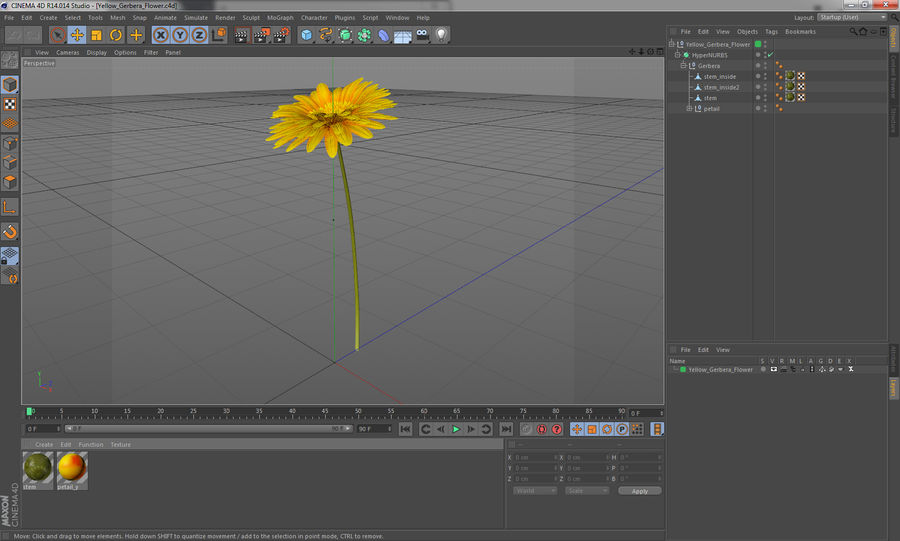 Flor de gerbera amarilla royalty-free modelo 3d - Preview no. 12