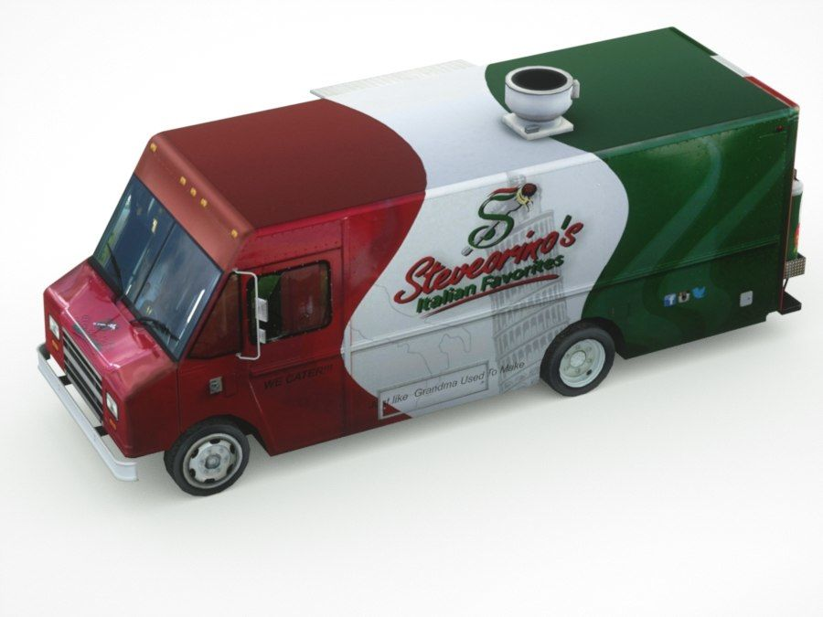 street Fast-Food Truck royalty-free 3d model - Preview no. 5