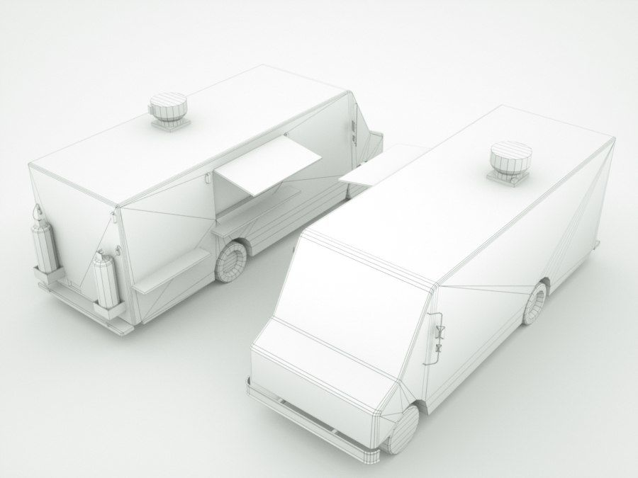 street Fast-Food Truck royalty-free 3d model - Preview no. 2