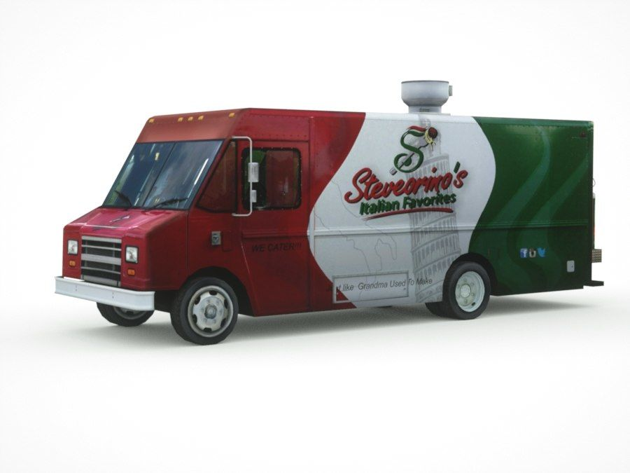 street Fast-Food Truck royalty-free 3d model - Preview no. 9
