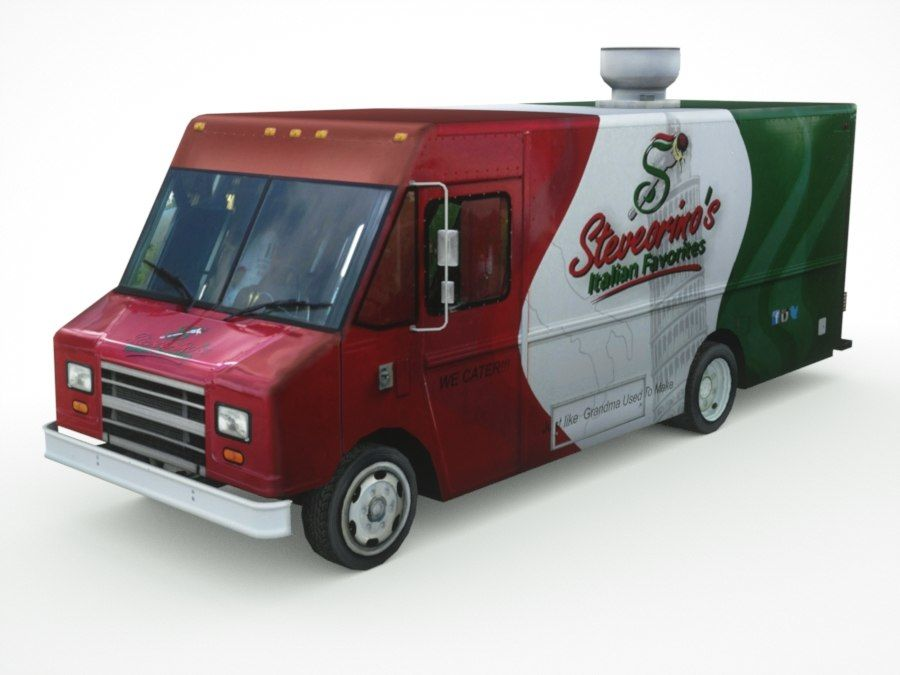 street Fast-Food Truck royalty-free 3d model - Preview no. 1