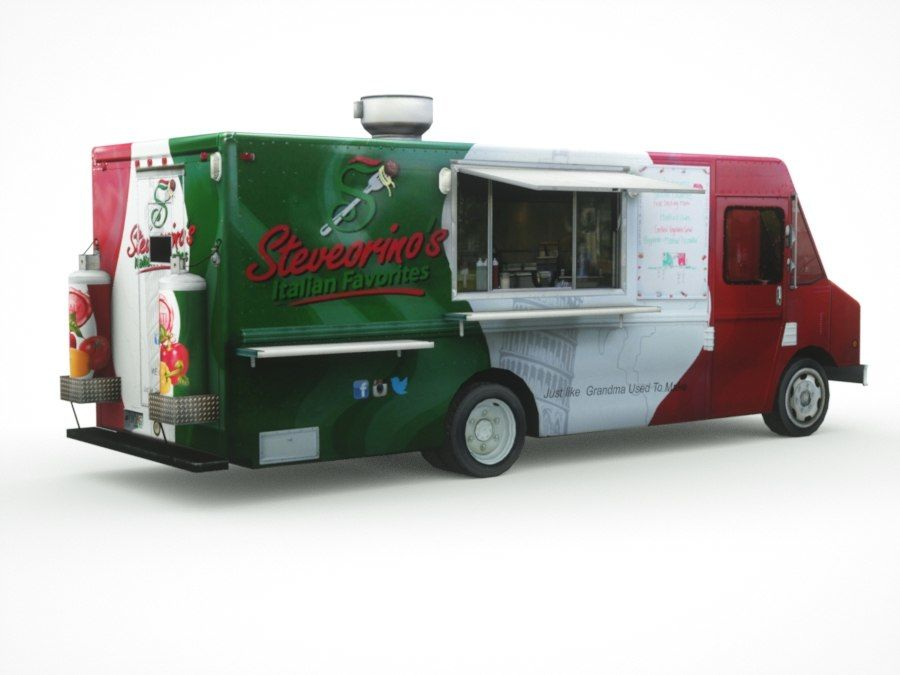 street Fast-Food Truck royalty-free 3d model - Preview no. 10