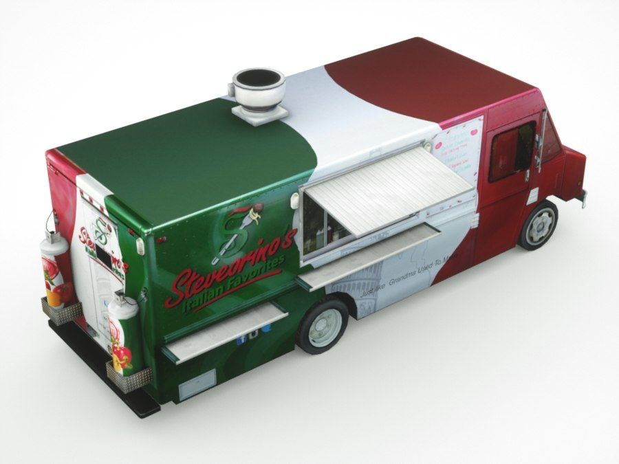 street Fast-Food Truck royalty-free 3d model - Preview no. 6
