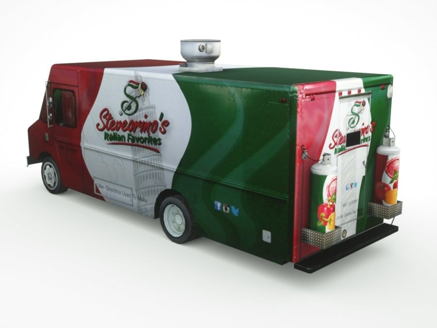 street Fast-Food Truck royalty-free 3d model - Preview no. 4