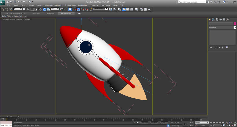 Cartoon Rocket Ship royalty-free 3d model - Preview no. 9