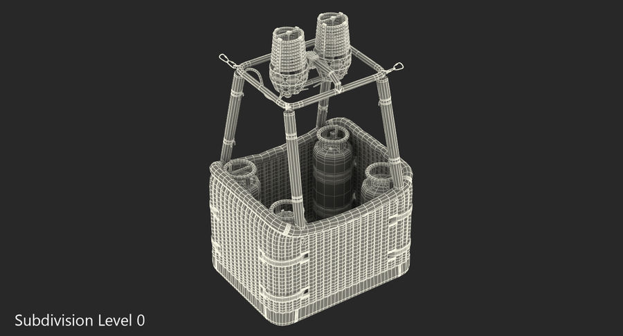 Hot Air Balloon Basket royalty-free 3d model - Preview no. 9