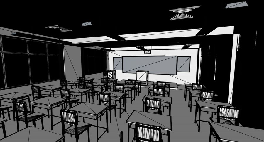 Anime Classroom royalty-free 3d model - Preview no. 1
