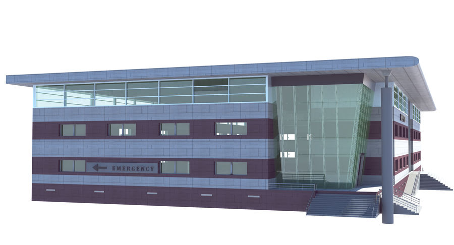 Hospital Building royalty-free 3d model - Preview no. 4